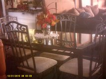 Glass and Iron table and chairs in 29 Palms, California