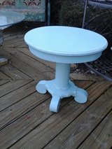 Shabby chic blue pedestal table in Naperville, Illinois