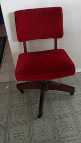 Cute Red Micro Fiber Fabric Antique Rolling Chair in Kingwood, Texas