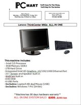 "Lenovo thinkcentre m92z all in one 23"" i5 8GB 1TB win 7 pro kb + mouse in Glendale Heights, Illinois"
