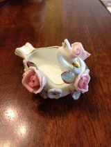 Lefton China Swan Pink Roses Trinket Ring Dish Made in Japan in Macon, Georgia