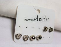 NWT Charming Charlie Silver Tone Heart Love Rose Flower 3 pr Earrings Stud Post in Houston, Texas