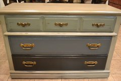 Shabby Rustic Industrial Painted Solid Wood Dresser Chest Console Neutral in Naperville, Illinois