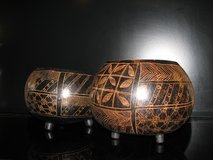 Pair of African Decorated Gourds in Lakenheath, UK