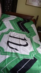 """Monogrammed Bed Spread- Green, Navy and white with the letter """"N"""" in Fort Campbell, Kentucky"""