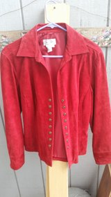 Red size medium Womans Leather jacket in Travis AFB, California