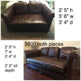 2 leather sofas (small pillows sold) in Fort Rucker, Alabama