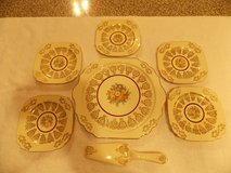 Vintage Cake Plate and Server with 5 Cake Plates 22KT. Gold Made in USA in Hopkinsville, Kentucky