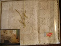 60 x 106 Luxury Lace ADO International Gift Boxed BEIGE Tablecloth in Wilmington, North Carolina