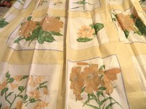 NEW BEIGE Mod Floral Framed Design Poly/Cotton Deluxe SHOWER CURTAIN Made in USA in Wilmington, North Carolina
