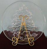Decorative Antique Etched Glass Christmas Plate in Wilmington, North Carolina