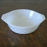 NINE (9) ANCHOR HOCKING FIRE KING WHITE SWIRL BOWLS BAKERS TAB-HANDLE in Aurora, Illinois