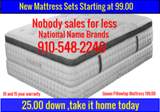 New Mattress Sets,still in plastic,First come ,First Serve!! in Wilmington, North Carolina