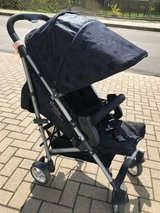Stroller Cybex, special edition, designed by lala Berlin (jeans blue with stars) in Ramstein, Germany