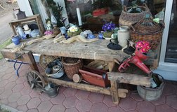 rustic antique work bench with functioning vise in Stuttgart, GE