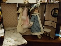 """Rare- Bleuette 18"""" Porcelain Doll, complete with Trunk, Wardrobe, more in Wilmington, North Carolina"""