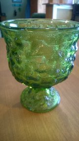 Green Crinkle Glass Compote in Clarksville, Tennessee