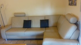 leather couch beige-colored  ( leather from happy cows by germany ) in Ramstein, Germany