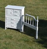 white dresser & Highboy  twin headboard Faux Bamboo Chinoiserie PERFECT in Morris, Illinois