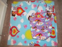 Dora the Explorer fleece blanket and cloth carrying bag in Fort Benning, Georgia