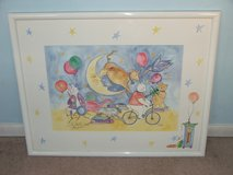 The cow jumping over the moon Mother Goose nursery rhyme water color print in Bolingbrook, Illinois