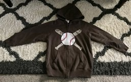 Brown and white baseball zip up hoodie in Fort Benning, Georgia