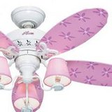 Pink Daisy Flower ceiling fan with light kit in Camp Lejeune, North Carolina
