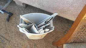 Trash Bin full of shelf racks in Yucca Valley, California