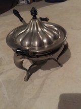 Pewter chafing dish with oil warmer in Plainfield, Illinois