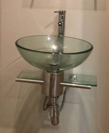 Modern glass vanity w/ frosted glass vessel in Orland Park, Illinois