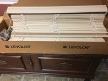 Two Levolor faux wood mini blinds in Naperville, Illinois