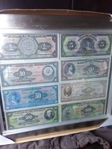 Old Mexican bills framed in Naperville, Illinois
