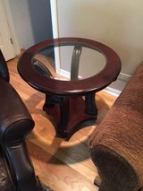 End table with glass, dark wood in Glendale Heights, Illinois
