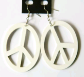 White Wooden Peace Sign Earrings in Fort Benning, Georgia