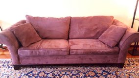 Microsuede couch - wine brown, oversized in Naperville, Illinois