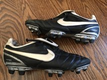 NIKE TIEMPO LEGEND ZOOM SIZE 6.5 KANGAROO LEATHER BLACK/WHITE/SILVER- SOCCER CLEATS (317041- in Naperville, Illinois