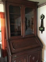 Walnut Victorian Drop Front Desk / Bookcase in Cherry Point, North Carolina
