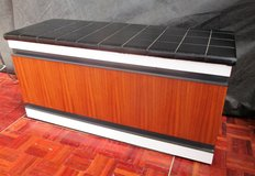 Mid Century Black Leather Topped Entryway Shoe Cabinet in Ramstein, Germany