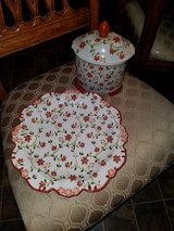 Rust Color Floral / 2 Piece Jar & Plate Set in Clarksville, Tennessee