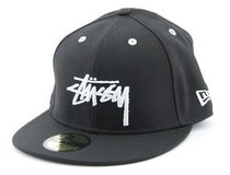 STUSSY NEW ERA FITTED hat cap black and white, size  71/4 in Okinawa, Japan