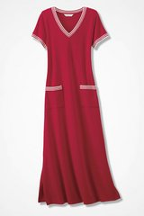 French Terry Maxi Dress Large Brand New Fresh Red and white for summer in St. Charles, Illinois