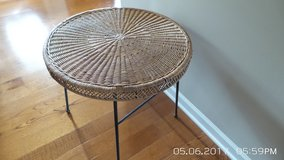 ROUND NATURAL  WICKER SIDE TABLE WITH METAL FRAME AND LEGS in Oswego, Illinois