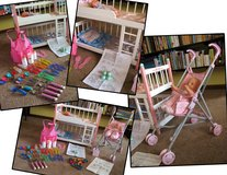 Wooden Doll Bunk Bed & Corolle Doll Stroller PLUS accessories in Bolingbrook, Illinois