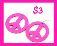 WOODEN PINK PEACE SIGN EARRINGS in Fort Benning, Georgia