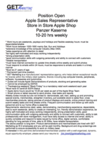 Apple Vendor Rep needed for Panzer Kaserne  Shop in Shop at the PX in Stuttgart, GE