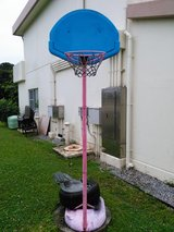 Pink and blue basketball goal in Okinawa, Japan