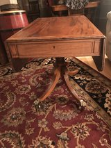 Antique Victorian English Mahogany  Drop Leaf Side End Sofa Table W 2-Drawers in Cherry Point, North Carolina