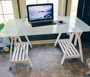 Ikea Frosted Glass Chic White Desk in Camp Lejeune, North Carolina