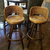 Vintage Swivel Bamboo Bar/Counter Chairs in Camp Lejeune, North Carolina