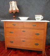 Antique Solid Wood Dresser with White Marble Top in Ramstein, Germany